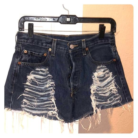 Levi ripped jean shorts